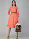 Orange Cotton Slub Dress with Pockets