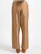 Beige Tie-Up Waist Silk Cotton Pants