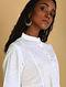 CHAMELI - White Khari-printed Cotton Mul Kurta with Raw Edge Hem