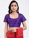 Purple Handloom Silk-Cotton Ikat Blouse