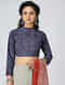 Indigo-Madder Block-printed Cotton Blouse
