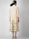 Ivory-Beige Printed Cotton Front-open Dress