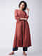 Madder Natural-dyed Cotton Kurta with Pintucks by Jaypore