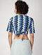Indigo-Ivory Kantha-embroidered Cotton Wrap Blouse