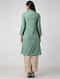 Green Front-open Cotton Slub Kurta with Pockets