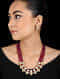 Red Gold Tone Kundan Inspired Onyx Necklace with Earrings (Set of 2)