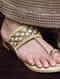Beige-Gold Aari Embroidered Kolhapuri Flats