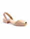 Nude Pink Handcrafted Patent Leather Block Heels
