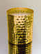 Gold Tone Handcrafted Hammered Iron Candle (Dia - 3.3in, H - 4in)
