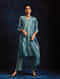 Blue Handloom Silk Kurta with Hand Embroidery