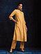 Yellow Pleated Handloom Silk Kurta with Hand Embroidery
