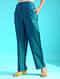 Green Tie-up Waist Handloom Silk Cotton Pants