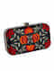 Black Red Embroidered Floral Silk Clutch