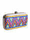 Multicolored Embroidered Leather Clutch with Mirror Work
