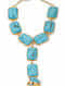 Turquoise Gold Tone Handcrafted Hathphool