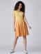 Yellow Ombre Cotton Dress with Pleats