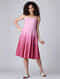 Pink Ombre Cotton Dress with Pleats