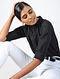 Black Cotton Dobby Top
