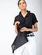 Black Cotton Dobby Shirt with Asymmetric Hem
