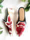 Red-White Embroidered Block Heel Mules