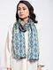 Blue-Beige Printed Khadi Silk Stole