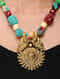 Blue-Multicolored Gold Tone Geogette Necklace