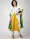 White-Yellow Block-printed Cotton Kurta