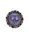 Blue Black Enameled Silver Adjustable Ring