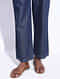 Blue Elasticated Tie-up Waist Pants with Hand-embroidery