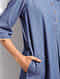 Blue Denim Hand Embroidered Dress/Kurta with Pockets