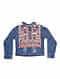 Blue Denim Jacket with Vintage Textile Applique