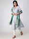 Ivory-Green Block-printed Cotton Silk Dupatta with Zari