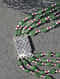 Emerald and Ruby Beaded Silver Necklace with Pearls