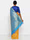 Yellow-Blue Silk Saree with Zari