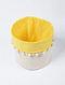 Yellow-White Canvas Storage Basket with Pom-poms