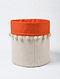 Orange-White Canvas Storage Basket with Pom-poms