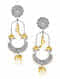 Dual Tone Vintage Silver Earrings with Pearls