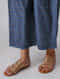 Indigo Elasticated Waist Khari-printed Mulberry Silk Pants with Moti Hem