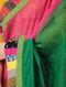 Grey-Pink Block-printed Constructed Cotton Saree with Chanderi Pallu