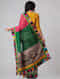 Grey-Pink Block-printed Constructed Cotton Saree with Chanderi Pallu