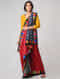 Red-Black Block-printed Constructed Cotton Saree with Cotton Silk Pallu