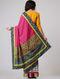 Grey-Pink Block-printed Constructed Cotton Saree