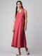 Red-Ivory Handloom Cotton Ikat Dress with Pockets by Jaypore