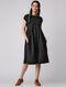 Black-Ivory Pintuck Handloom Cotton Ikat Dress by Jaypore