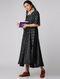 Black-Ivory Handloom Cotton Ikat Dress by Jaypore