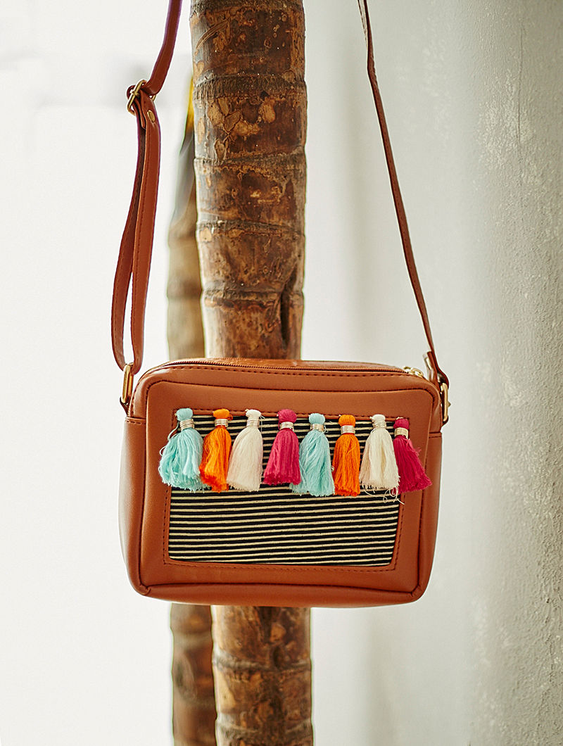 Brown-Multicolored Sling Bag with Tassels