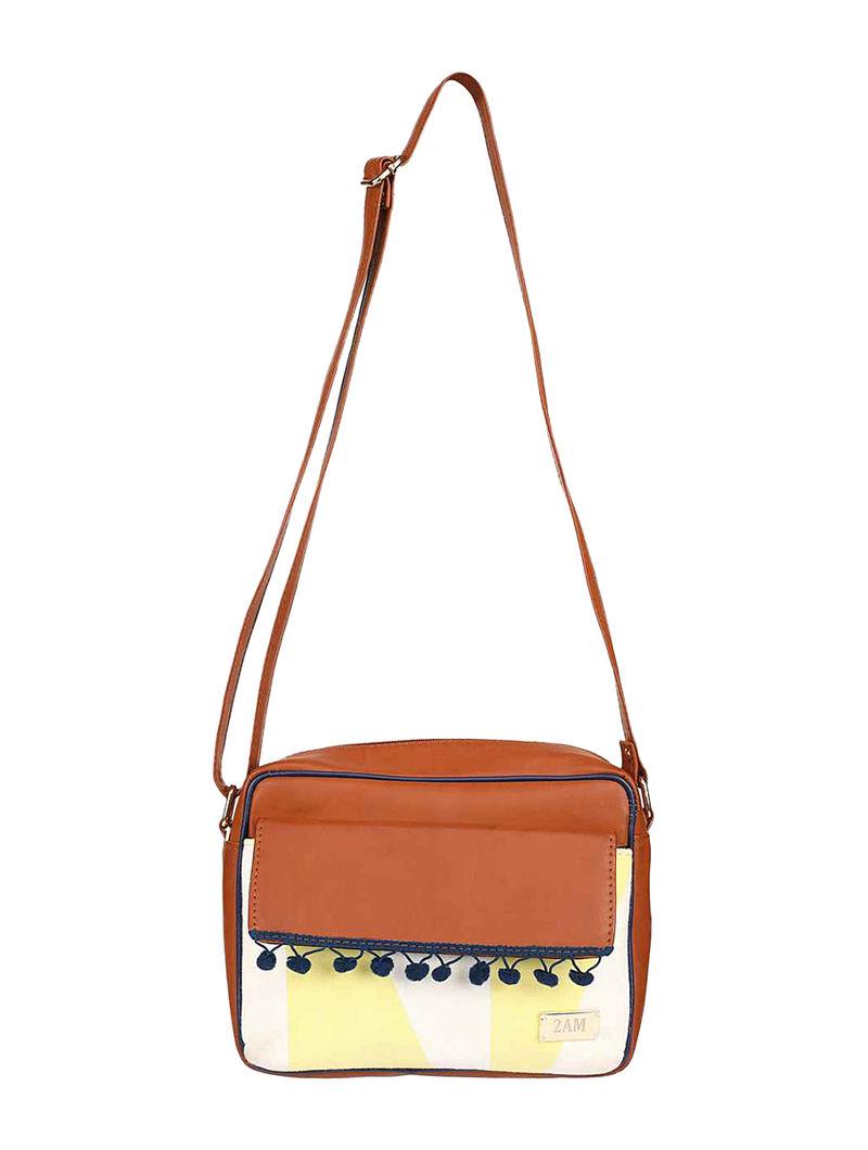 Brown-Blue Cotton Sling Bag with Pom-Poms