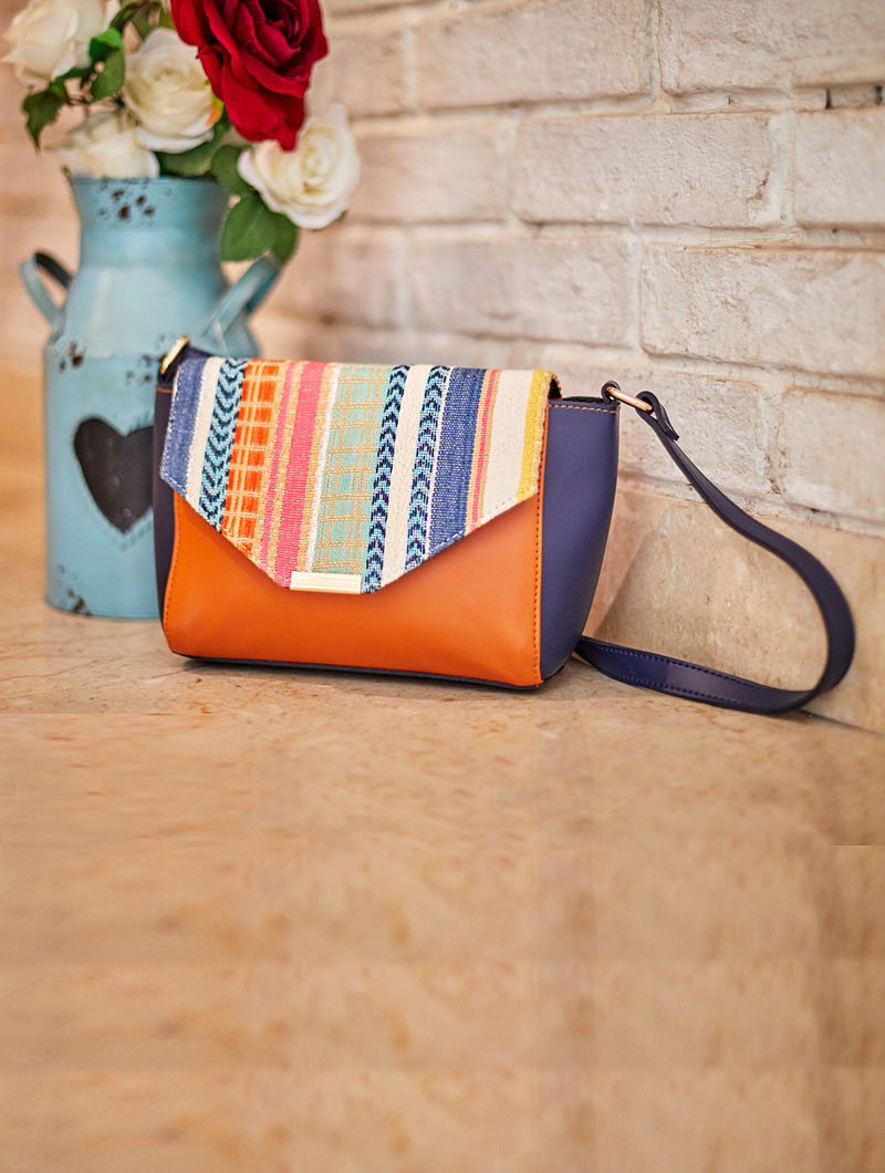 Blue-Tan Cotton Sling Bag