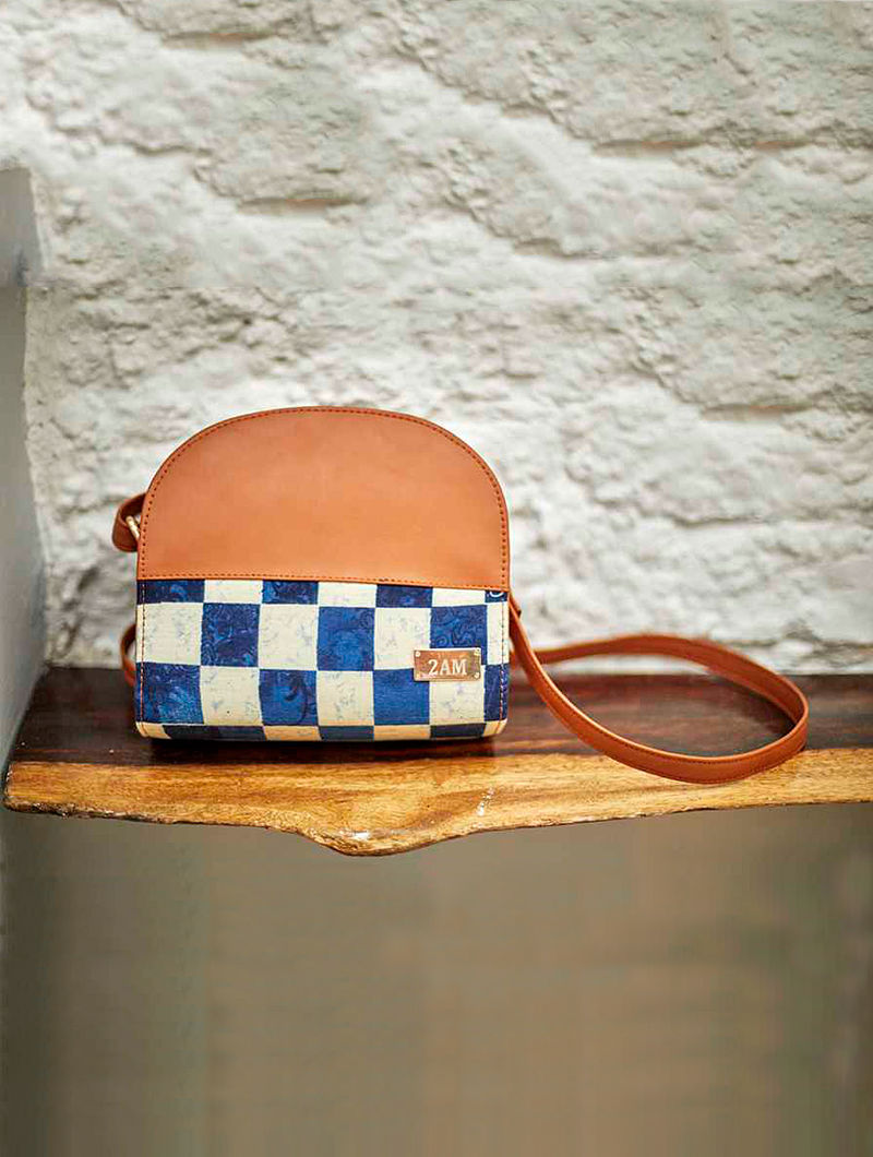 Blue-White Checkered Cotton Sling Bag