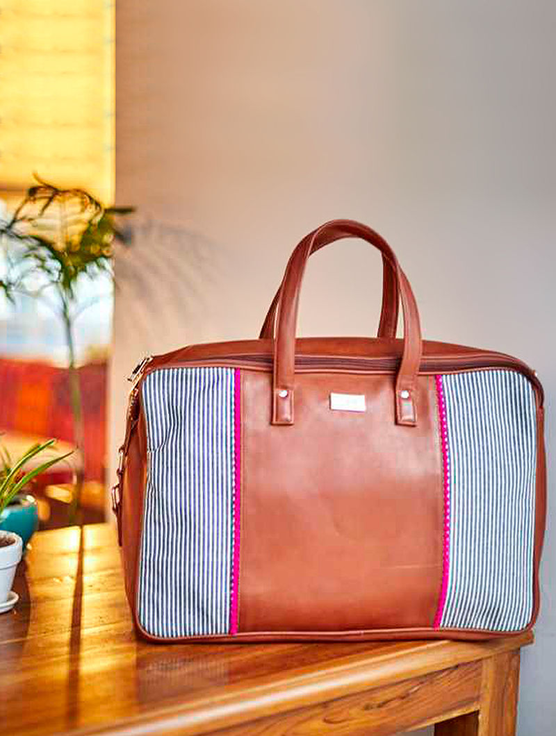 Brown-Pink Handbag with Striped Cotton Panels and Laces